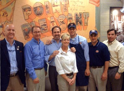 Arizona Area Director Bill Mapes, his wife Leslie and son Corey are flanked by (l to r) Pepsi representative David Jordan, Hoyt Jones, president of Jersey Mike's Franchise Systems, John Hughes, who heads up Jersey Mike's Training, and Jersey Mike's COO Mike Manzo at Jersey Mike's new Tempe, AZ location which opened on April 2.
