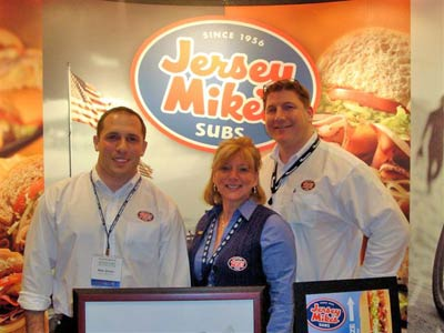 Jersey Mike's Subs sales team (l-r) Mike Sirchio, Ruth Schneider, and Brian Sommers fielded inquiries from developers at the 2009 Multi-Unit Franchising Conference in Las Vegas recently.  The NJ-based company continues its steady expansion throughout the country with the opening of its first sub shops in Illinois.  The company's authentic Northeast style subs are now available in 27 states.