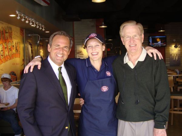 Peter Cancro, Jersey Mike's founder and CEO with franchisee Christy Paul, and Christy's Dad Mike Paul on opening day.