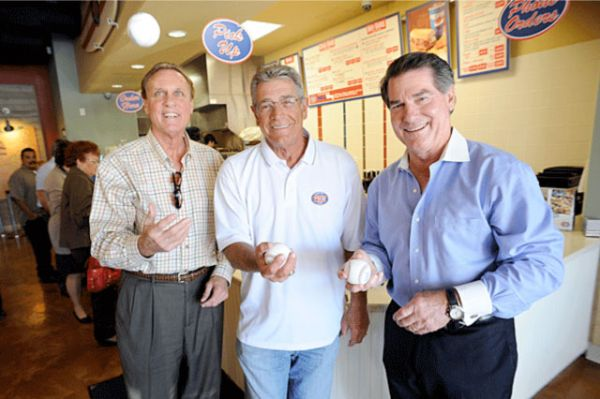 Steve Yeager, center, welcomes former Dodgers teammates Jay Johnstone, left, and Steve Garvey to his restaurant, Jersey Mike s Subs in Granada Hills. The three helped the Dodgers win the 1981 World Series championship.