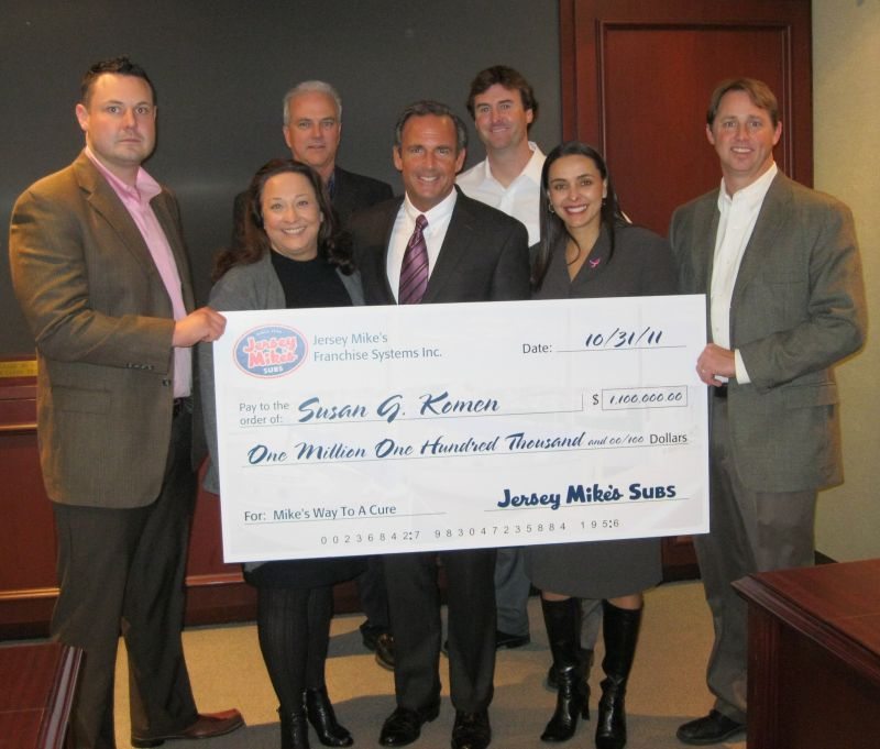 Left to right are: Jersey Mike's operator Michael Reeves; Liz Thompson, Susan G. Komen president; franchise owner Bryan Selden; Peter Cancro, Jersey Mike's founder and CEO; area director and franchise owner Dalton Stewart; Margo K. Lucero, Susan G. Komen Vice President, Business Development and Partnerships; and franchise owner Chad Huffhines.