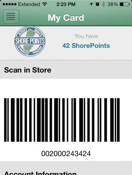 The new App features a virtual Shore Points card.  Customers are now able to input their information scan the bar code on their phone.