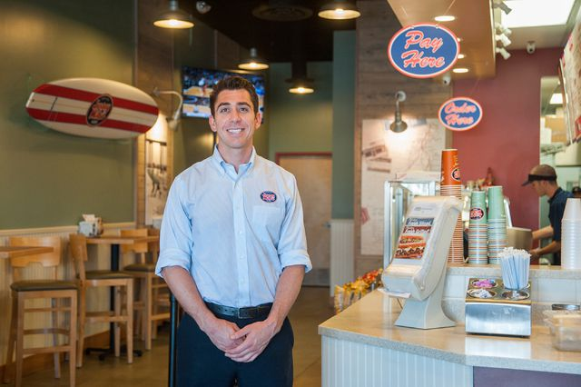 Co-owner Sean Mapes of Jersey Mike's Subs poses for a portrait inside his sandwich shop on 7390 S. Las Vegas Blvd., in Las Vegas Thursday, July 31, 2014.