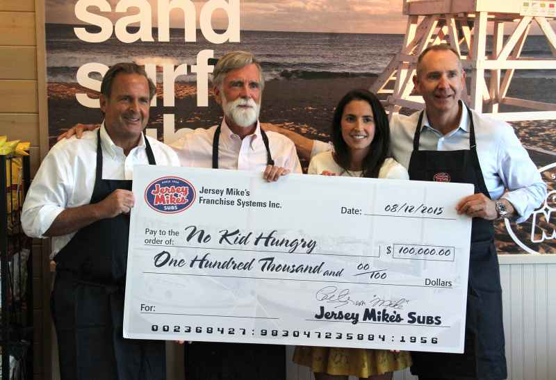 Left to right: Peter Cancro, Jersey Mike's Founder and CEO;  with Tom Nelson, president of No Kid Hungry and Share our Strength; Caroline Cancro, Jersey Mike's charitable giving coordinator and David Jobe, president of Winsight Events and the Restaurant Leadership Conference organizer.